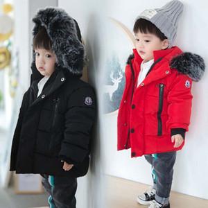 Детские Для девочек Для мальчиков куртки 2019 осень зима куртки для мальчиков Детский меховой воротник с капюшоном Теплая верхняя одежда Пальто для мальчиков Одежда
