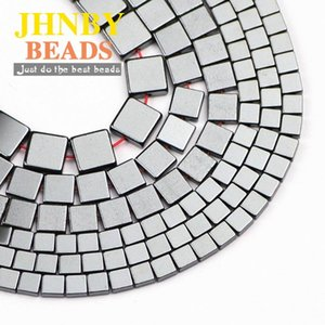 JHNBY Flat Square Black Hematite 4 6 8MM Natural Stone Rectangle Spacer Loose beads for Jewelry bracelets Making DIY Findings