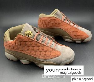 With Box Clot X 13 Low Terracotta Warriors Men Basketball Shoes 13s Low Sports Sneakers At3102-200 Grey Olive Suede Athletic Top Quality