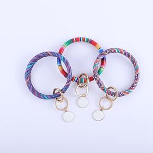 Leather Tassels Bracelet Keychain Key Ring Holder Personalized Enamel Multicolor Leopard Bangle Keychain Party Gifts RRA2565