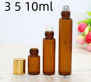 3ml 5ml 10ml Roll On Glass Bottle Amber Brown Empty Essential Perfume Essential Oils Glass Bottle Metal Roll Roller SN1526