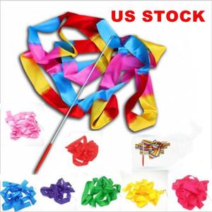 Ribbon Ginástica Rítmica Ginásio Ribbon US STOCK Gymnastic Ballet Twirling fita Rod Streamer vara 4M Rhythm