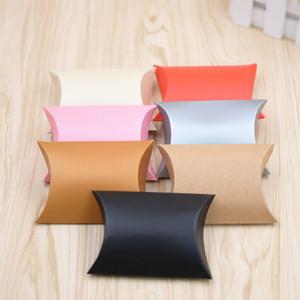 100pcs Favor Candy Box Gift Bag Craft Paper Pillow Shape Wedding Favor Gift Boxes Party Box Bags Promoción ecológica de kraft