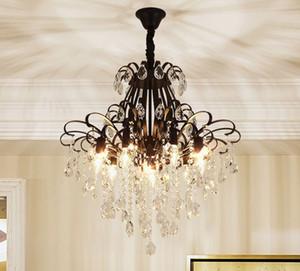 Американский современный хрустальная люстра освещение роскошные черные хрустальные люстры светодиодные подвесные светильники для фойе спальня столовая кухня MYY