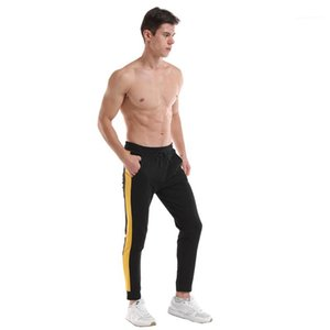 Delgado Pantalones con cordón varones aptitud Contraste de color de las bragas de los hombres con paneles de rayas de lápiz pantalones del verano de diseño deportivo