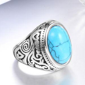 Anello da dito con turchesi opalini ovali con motivo a intaglio vintage per donna Uomo in acciaio inossidabile placcatura in argento antico Nobel Palace