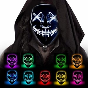 10 couleurs Halloween Masque V pour Vendetta LED Light Up Party Masks La Purge Election Année Grand Drôle Masques Cosplay Fournitures Glow In Dark