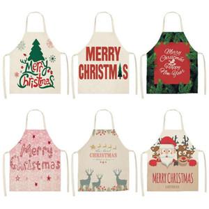 Delantal de la Feliz Navidad para la mujer Pinafore 53 * 65cm de algodón de lino baberos de Navidad Decoración colgante de cocina Accesorios de cocina