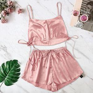 Frauen Satin Silk Bowknot Leibchen Shorts Set Nachtwäsche Pyjamas Bandage Lingerie
