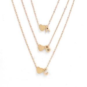Neuer 26 Intial Buchstabe Alphabet Herz Anhänger Halskette für Frauen Gold-Silber-Farben-A-Z Edelstahl-Halsketten-Kette Modeschmuck Geschenk