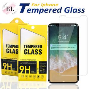 Protecteur d'écran pour iPhone 11 Pro Xs Max X XR 7 8 verre trempé pour Samsung J7 J5 premier avec Paper Box
