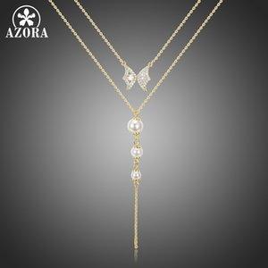 Azora Doppelketten Luxus Klar TN0281 Zirkonia Schmetterlings-Perlen-hängende Halskette für Frauen-Strickjacke-Kette Quaste Schmuck