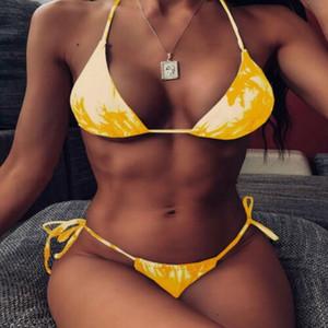 Bikini eingestellt reizvolle einteiliger hohe Taillen Bikini Druck mit Rüschen hohlen Spezialgeweben yakuda Druck Rüschen eine Schulterabnutzung 2020 reizvoll