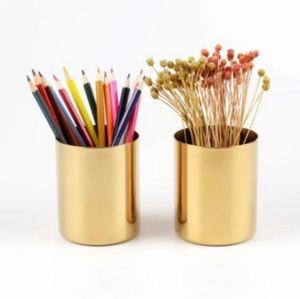 Latão ouro vaso 400ml estilo nórdico multi Use lápis Pot Holder Cup conter inoxidável Cilindro Pen Aço titular para Desk Organizadores LXL825-1