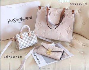 Grande capacité de trois pièces mode nouvelles dames élégant sac de messager de sac à dos de sac à main de mode sauvage dames sac à bandoulière de sac pochette en cuir
