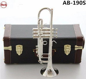 Bach Stradivarius Bb труба AB-190S посеребренного музыкального инструмента Новой Труба мундштук профессионального класс