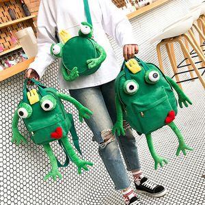 Zaino peluche creativa 3D Vivid rana impermeabile Bambini Bambini Bag Simulation Animal Stampe borse da viaggio regali dei giocattoli Bag Animal