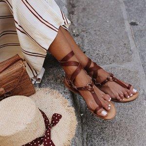 Snake grain sandals lady big size buckle sandals flat heel summer booties cross tied beach shoes c902