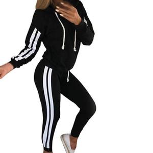 2019 New Sportsuit Women 2 Pieces Set Outwear Sweatsuit Zipper Striped Causal Long Sleeve Sweatshirt + Long Pants Women's Sets C