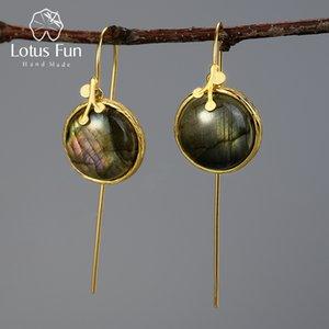 Lotus Fun Natural Labradorite Gemstone Drop Earrings Real 925 Sterling Silver 18K Gold Leaves Earrings for Women Fine Jewelry