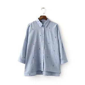 Bella Felsefe yeni yaz kadın kaktüs nakış pamuk keten bluz uzun boy gevşek gömlek bluz sleeve