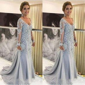2019 Zarif Mermaid V Boyun Anne Gelin Elbiseler Uzun kollu Dantel Aplikler Tül Boncuk Sweep Tren Artı Boyutu Parti Abiye giyim
