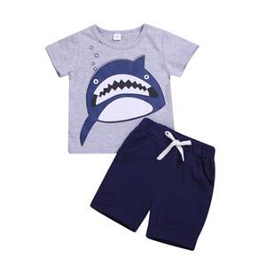 Crianças menino tubarão urbano roupas de verão de manga curta t-shirt + calça curta 2 Pcs set Outfits Kid boy Roupas Casuais