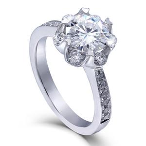 Transgems 1.4 Ctw Carat F Color Lab Grown Moissanite Diamond Anillo de compromiso de boda Sólido 14 k Anillo de oro blanco para mujeres Y19032201