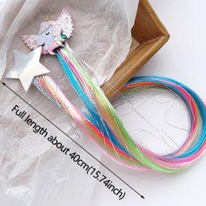 Новые Девушки мечты Красочные бабочки Unicorn звезды парик Шпильки Детские клипы Cute волос ободки заколки Детские аксессуары для волос