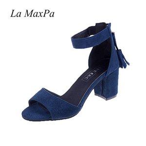La MaxPa Woman Shoes Summer Tassel Flock Women Sandals Fringe Sandal Heels Thick High Heels Sandals Sandalias De Salto Alto Y200702
