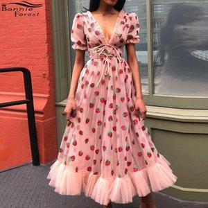 Großhandel beiläufige Erdbeere Rosa Mesh-Kleid-Frauen-kurz PUFFÄRMELN Kordelzug V-Ausschnitt Lace-up-Bogen-Kleid Sommer-Bonbon-Kleid