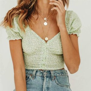 Chic Green Floral Print Slim Chiffon Vintage Blouse Women Summer Fashion Elegant Buttons Womens Tops and Blouses
