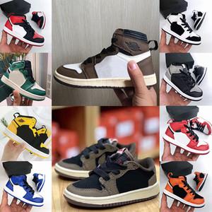 1s Kids Shoes Vintage Cactus Jack Baixa Travis Shoes Scotts Basquetebol 1 Top 3 Pine verde do bebê da criança Children Sneakers Sports instrutor de sapatos