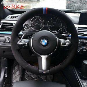 Black Suede Steering Wheel Cover for BMW F33 428i 2015 F30 320d 328i 330i M3 M4
