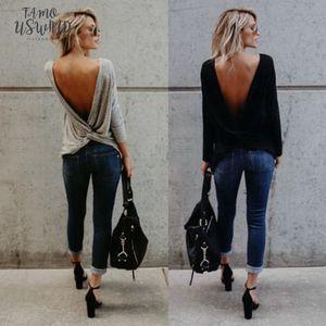 Fashion Womens Fashion Long V Open Back Backless T Shirt Tops Long Sleeve Solid Loose Casual Tee Shirt Tops