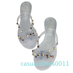 2019 fashion women sandals flat jelly shoes bow V flip flops stud beach shoes summer rivets slippers sandals nude c11