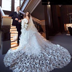 Nouveau vrai Butterfly Bridal Veils Blanc Sheer couches Tulle double Crêpe long voile de mariée Veils En stock Accessoires de mariée
