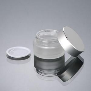 Vente en gros 20G en verre givré POMMADIER 20ml cosmétiques contenants de verre d'emballage en aluminium avec Cap