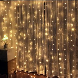3*2.5M 240LED Bulbs Curtain String Christmas Garland LED Lights Wedding Fairy Light Holiday Party Patio Bedroom Guesthouse Decor Y200603