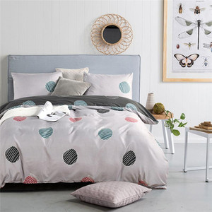 HM Leben Bettwäsche-Sets Druck mehrfarbiger geometrischer Kreis Bettbezug Pillowcase Doppel bequeme weichen Bettbezug Sets Sided