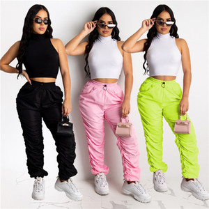 Womens Solide Couleur Sweatpants taille haute en vrac Casual froncé Pantalon taille élastique Famale Mode Pantalon Designer