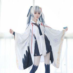 Nuevo Vocaloid Hatsune Miku Snow Miku Cosplay bruja Kimono vestido de carnaval / disfraces de Halloween para adultos S-XL