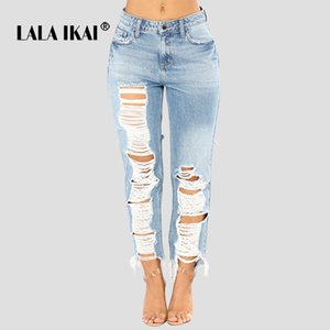 LALA IKAI Женщины Плюс Размер 2XL Hole Голубые штаны девушки Крупногабаритные Уличная джинсы Женщины Тощий Сыпучие Полная длина брюк SWB203247