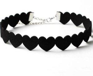 2020 dentelle noire Collier ras du cou femmes Velvet Choker Love Heart Colliers ras du cou tatouage mode de collares