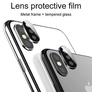 Kamera Lens Ekran Koruyucu için iphone XS MAX XR X 3D Geri Yüzük Metal Arka Kılıf temperli cam Film Koruyucu Kapak ile Paketi