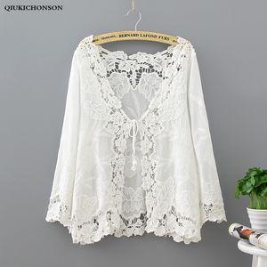 Qiukichonson White Lace Cardigan Mulheres Boho oco Out Bordado Flor Bikini Cover Up Lace Up sunproof Kimono Cardigan Tops