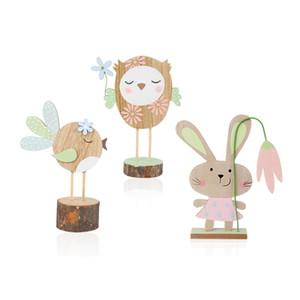Páscoa coelho de madeira Formas Início Ornamentos bonito do coelho Artesanato de Páscoa Bow Tie madeira Craft Room Decoration presente das crianças GGA3183-8