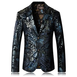High Quality 2019 New Blazer Men Floral Casual Blazers Masculino Fashion Stage Party Single Breasted Men Suit Jacket 5XL
