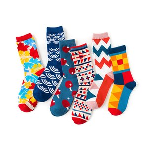 Mens Women Happy Funny Striped Socks Quality Plaid Diamond Sock Men Combed Cotton Calcetines Largos Hombre Sports Socks Christmas Gift