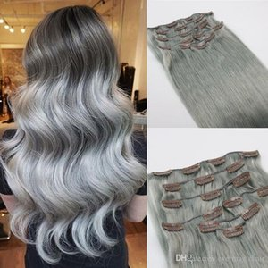 Human Hair Extensions Grey Brazilian Virgin Hair Extensions Clip In Silver Gray Best Seller DHL Fast Shipping
